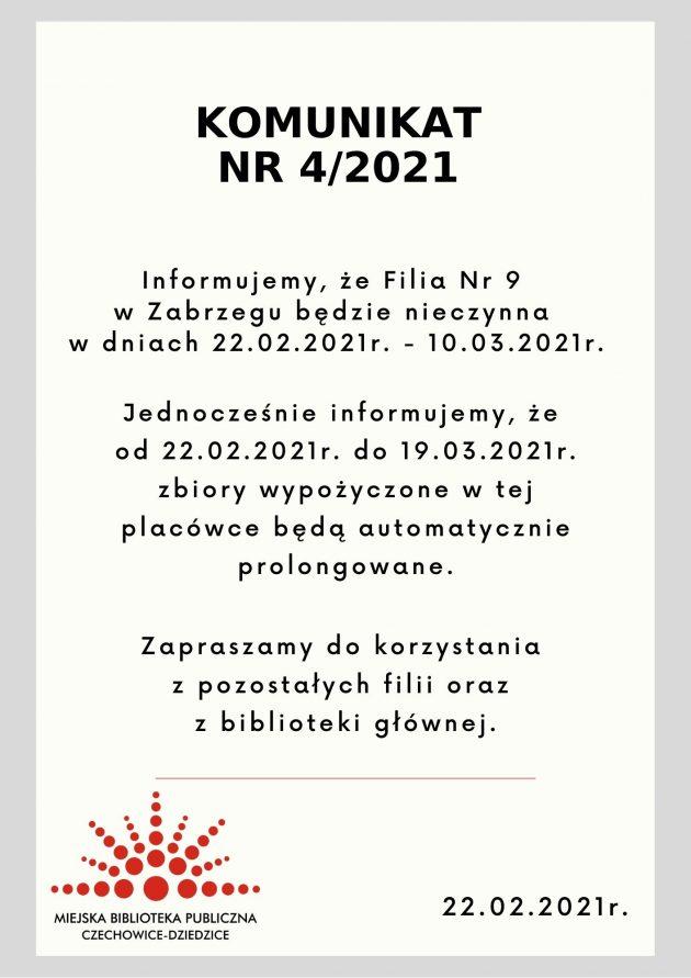 Komunikat o czasowym zamknięciu Filii Nr 9 w Zabrzegu