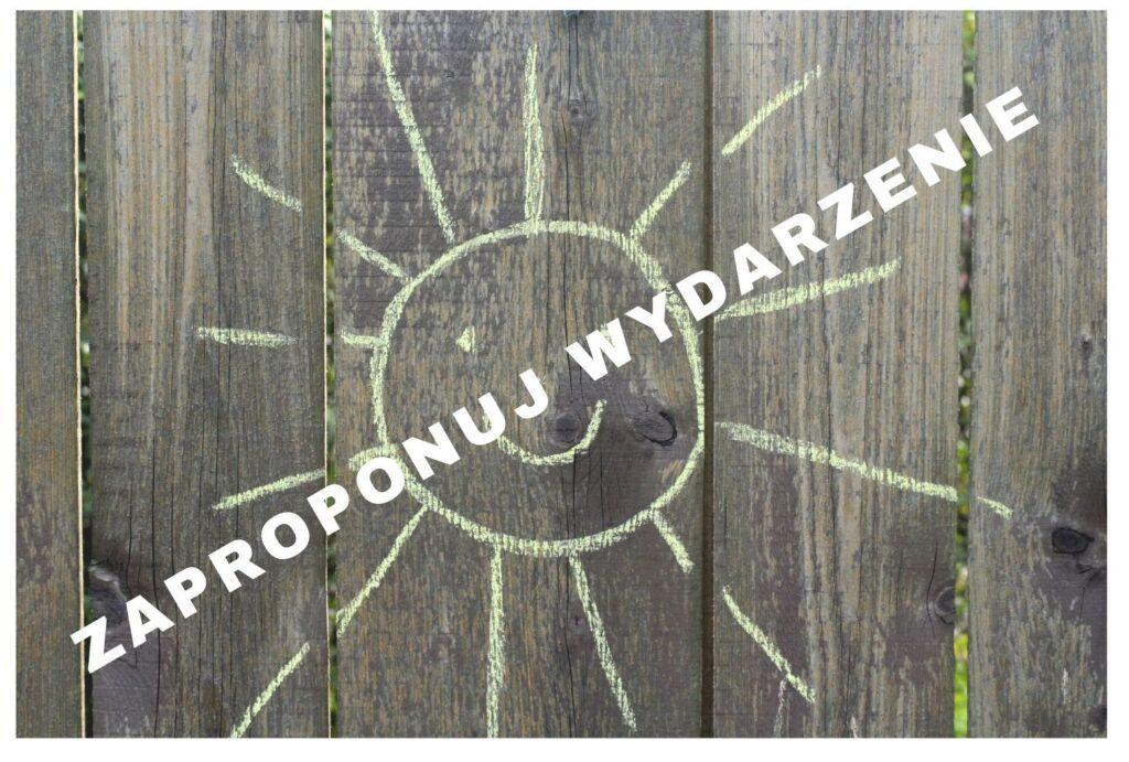 Plakat, słońce narysowane na tablicy